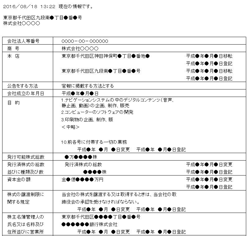 商業・法人登記情報サンプル1